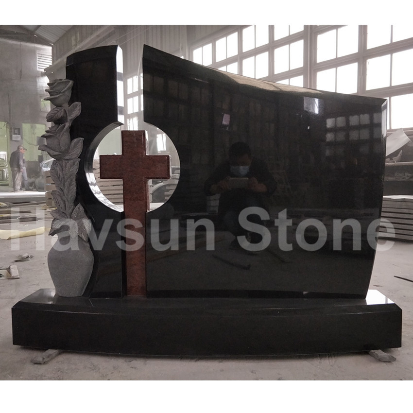 Black Granite Rose Vase Cross Headstone Monument