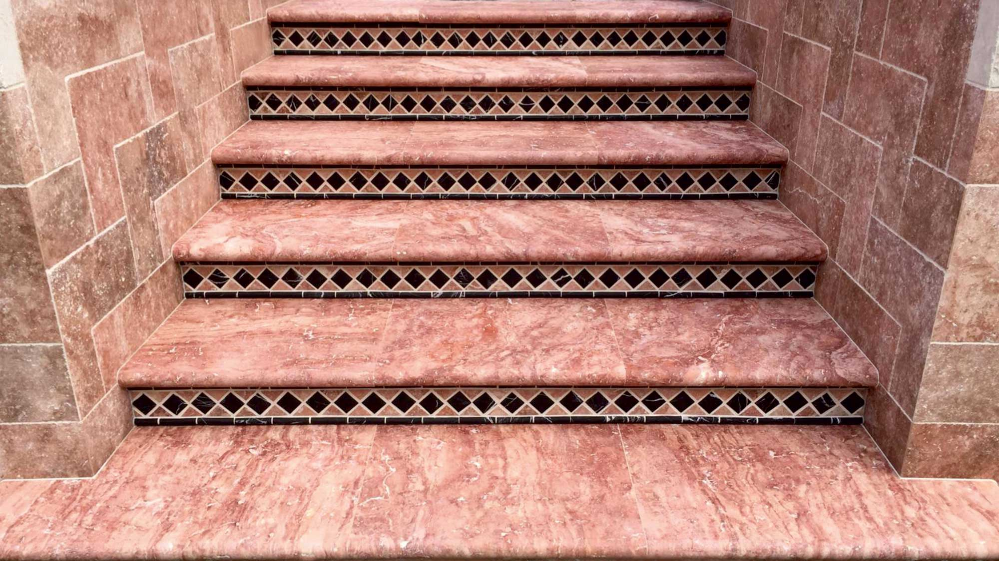 Red Travertine Stairs