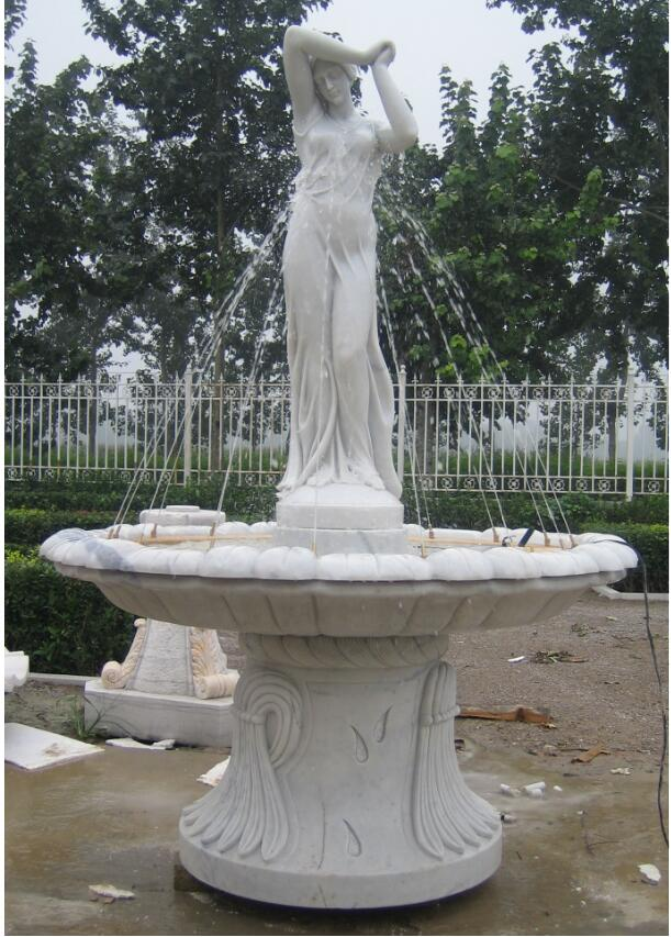 Carved Marble Statue Water Fountain