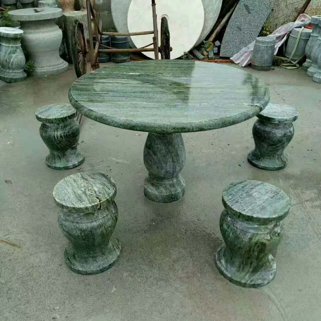 Carved green marble table set
