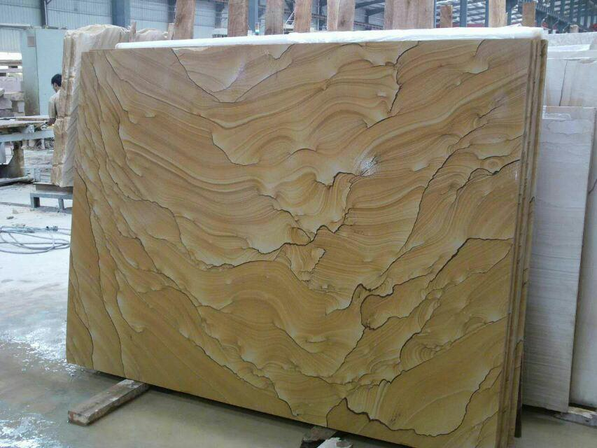 Natural yellow sandstone slabs