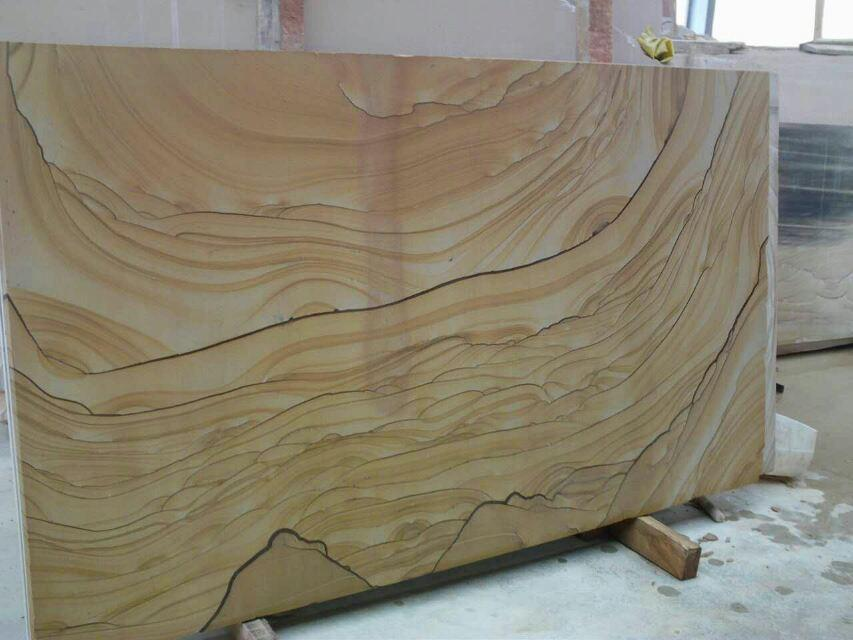 Chinese Luxury Landscape Yellow Sandstone Slabs