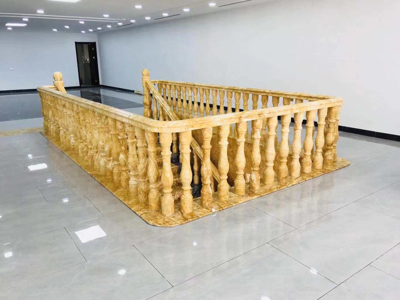 Egyptian Yellow Marble column plinth obelisk balustrade railing hotel porch casino