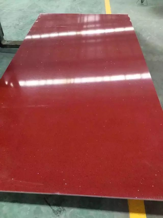 Crystal red quartz slabs with mirrors