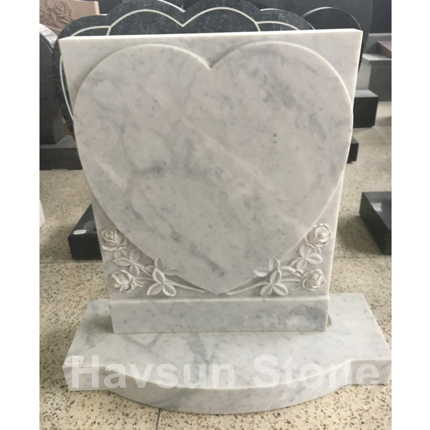 White Marble UK and Irish Rose Heart Headstone