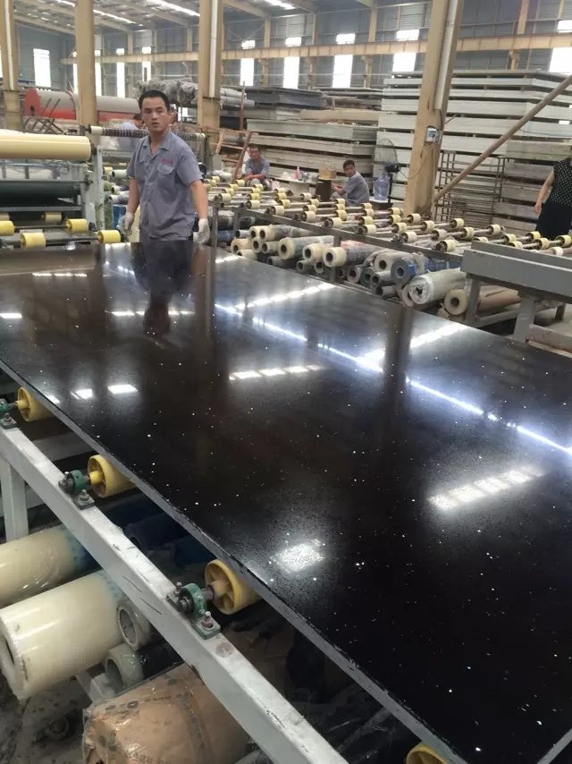 Glitter black color artificial quartz slabs