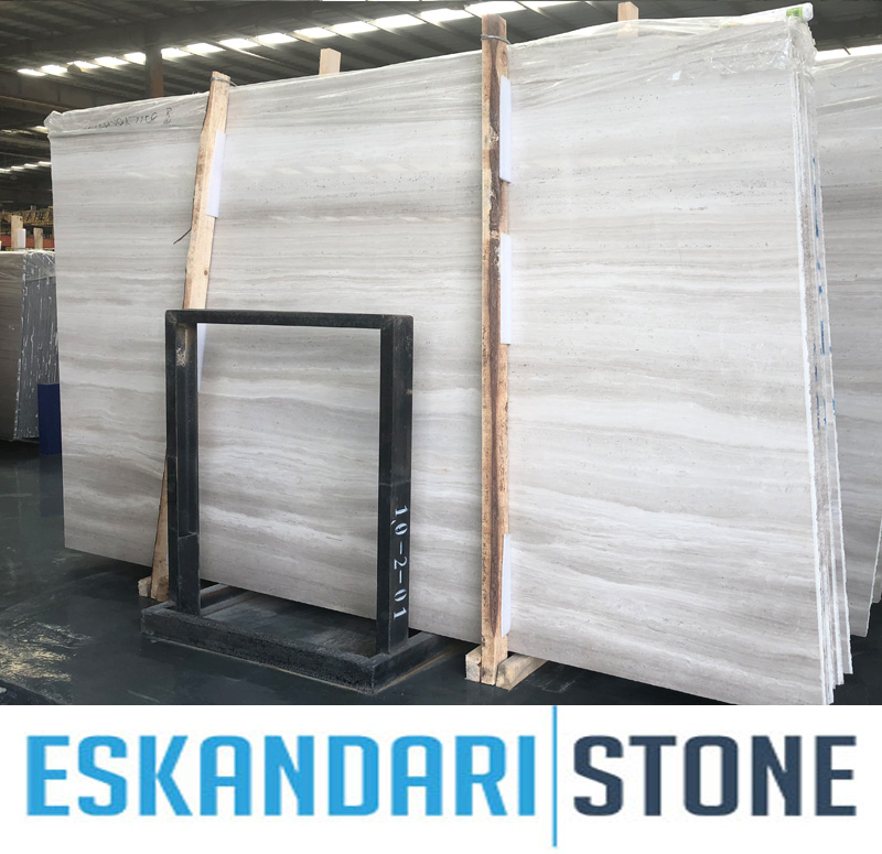 White Serpegiante  white wood grain marble slabs