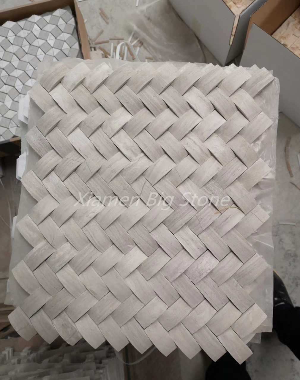 3D Style Wooden White Marble Mosaic Tile