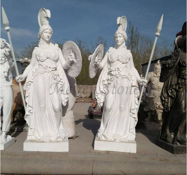 Hand carved white marble statue of beautiful femal soldier