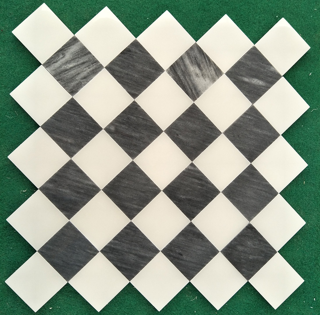 White And Black Marble Mosaic Tiles 10mm thickness Polished