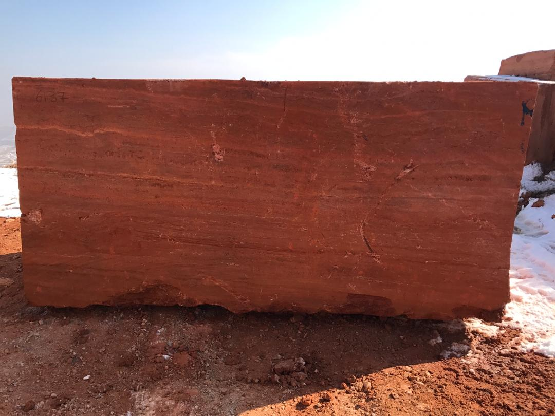 Red Travertine Natural Stone Blocks