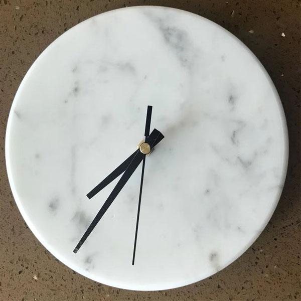 Carrara White Marble Clock
