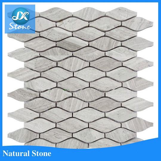 White wooden vein marble mosaic