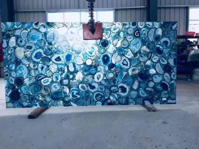 Nature Blue Agate Gemstone Backlit Slabs
