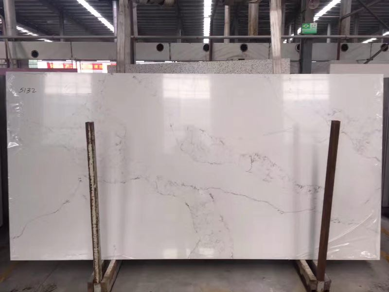 Carrara color quartz slabs for countertops