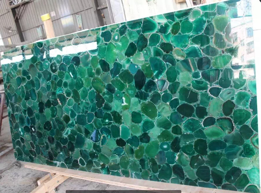 Green color agate big slabs