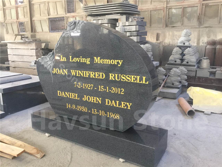 Dark Grey Color Rose Headstone Tombstone Monument