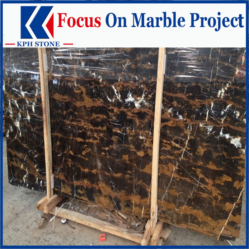 Afghan Portoro Black Gold Marble Slabs for Wynn Las Vegas Hotel