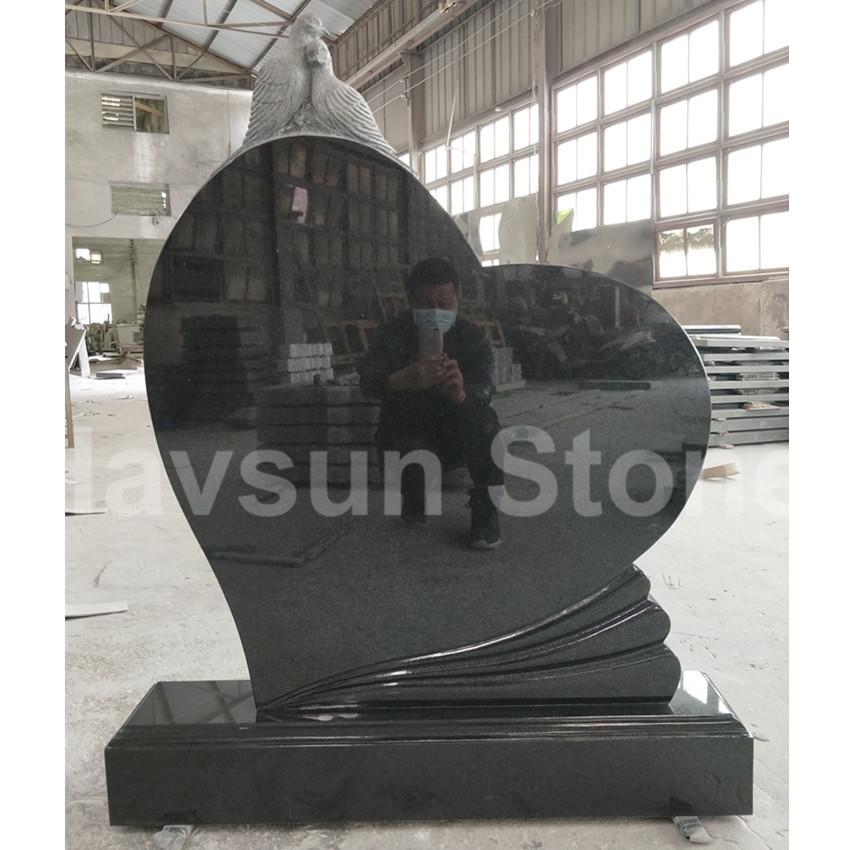 Bahama Blue Granite Heart Dove Headstone Tombstone