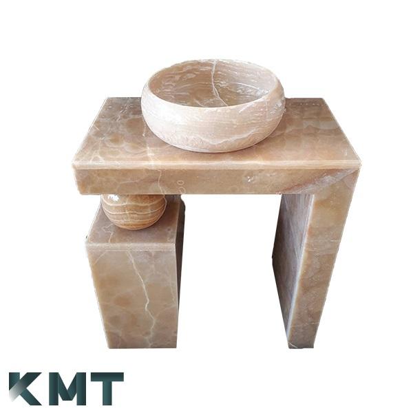 Orange Onyx Pedestal Sink  Stone Basin S-15005