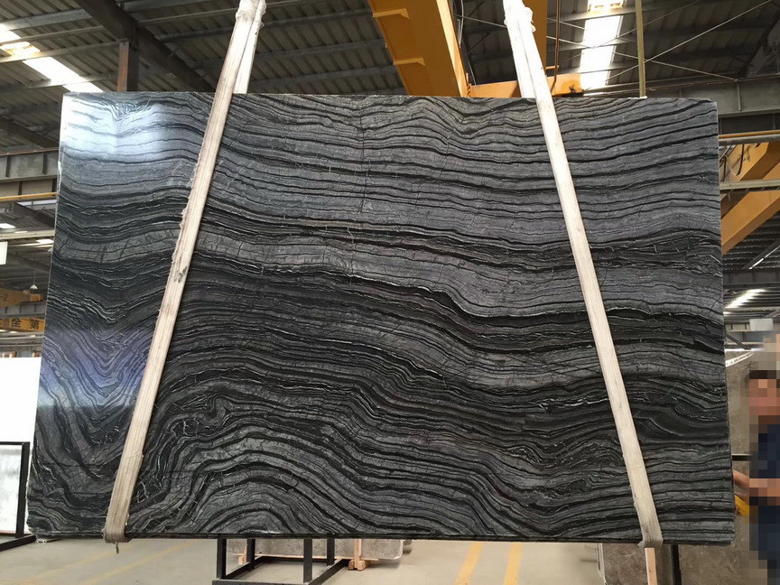 Antique Wood Vein Marble Slab China Black Forest Wooden Vein Marble Silver Wave Marble