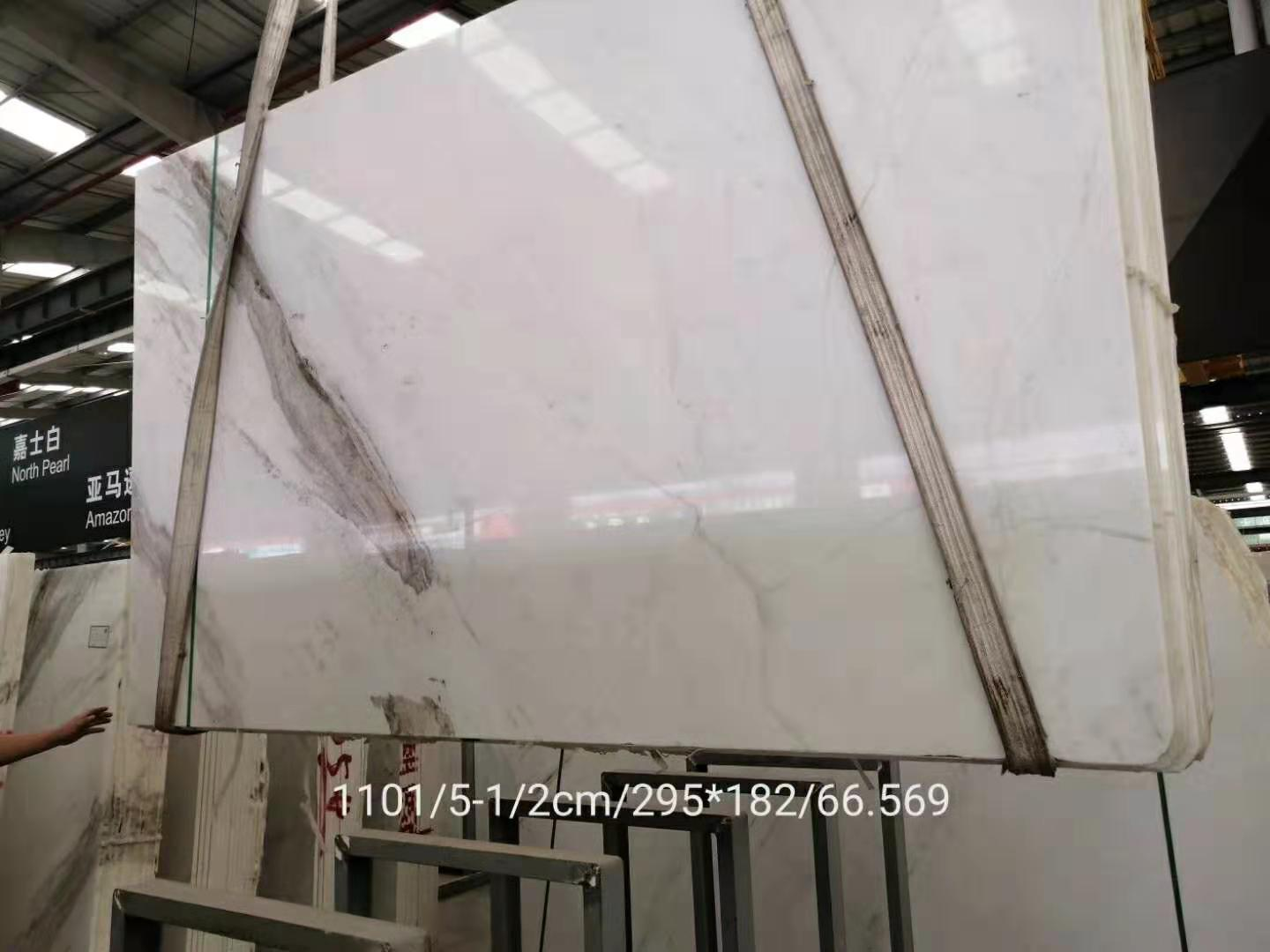 north pearl white 2cm natural marble slab