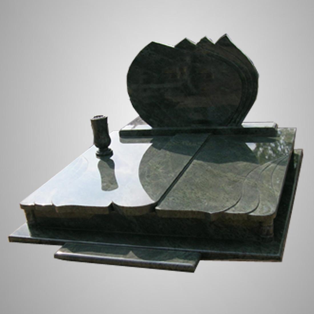 Modern Customized Black Granite Tombstone Full Set