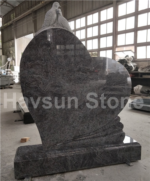 Bahama Blue Granite Heart Dove Headstone Tombstone