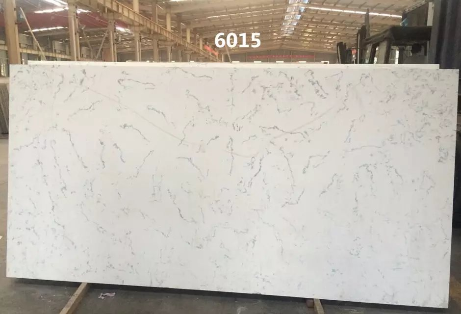 Artificial Carrara color quartz stone for countertops