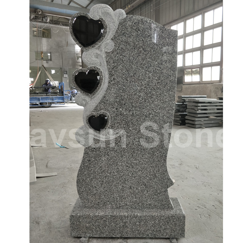 Triple Heart Grey Granite Headstone Tombstone