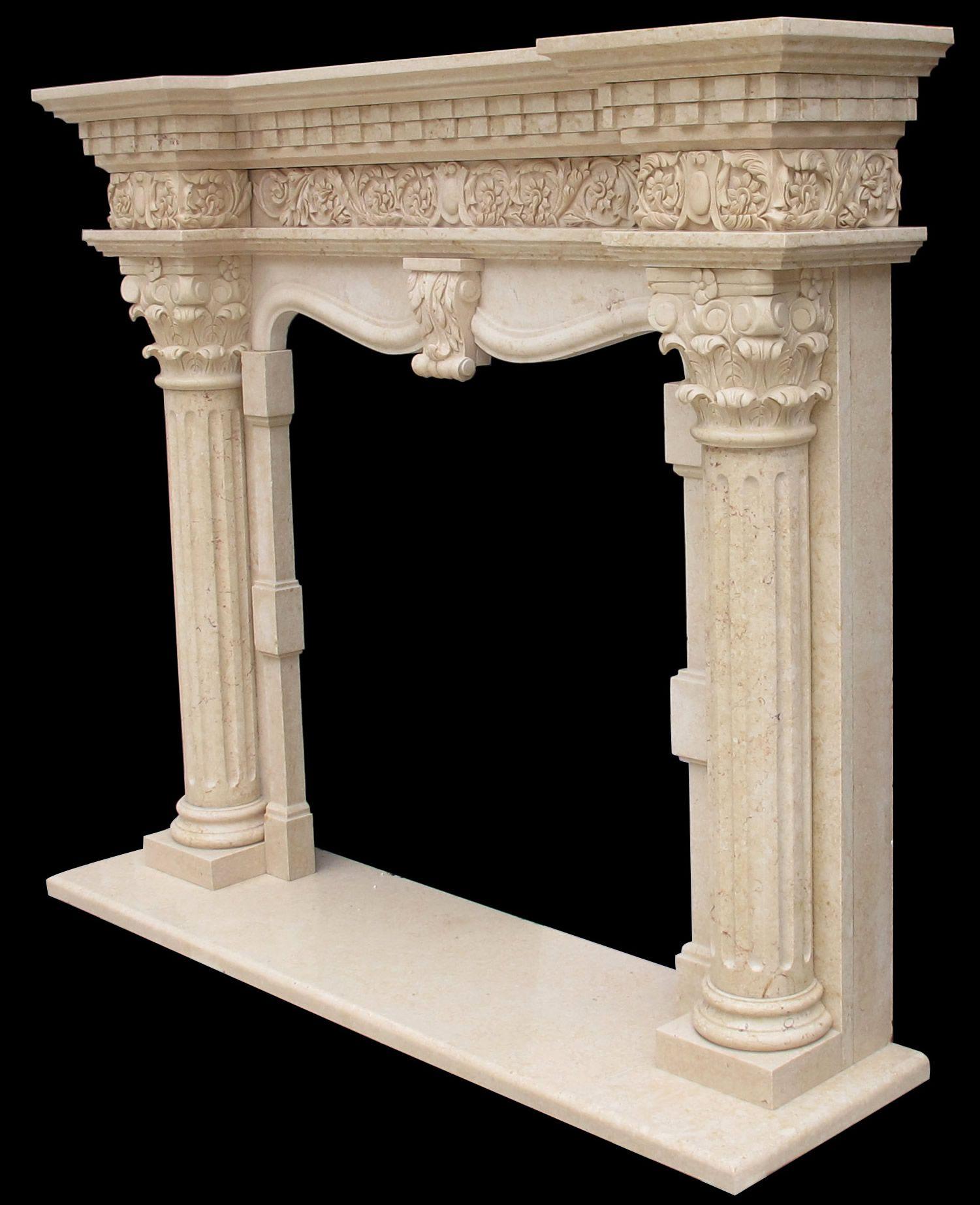 Mint White Sandstone Fireplace