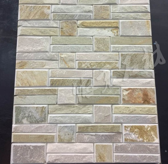 P014 Yellow Wood Classical Cultured Stone Wall Cladding Ledge for Indoor and Outdoor Hebei Stone Factory China