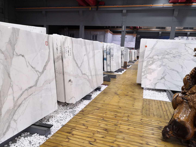 Calacatta Polished White Marble Slabs