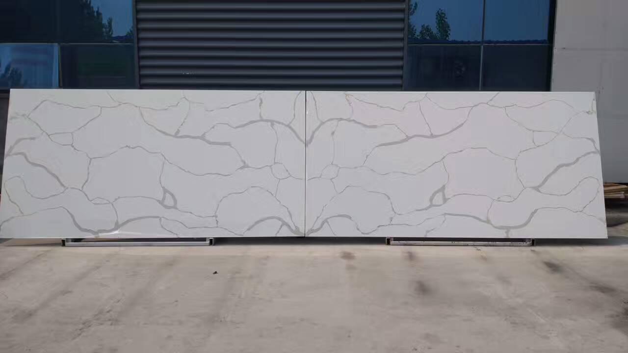 Artificial type new calacatta white quartz stone slabs China