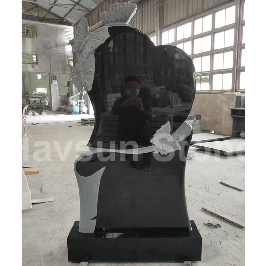 Russian Style Butterfly Black Granite Headstone