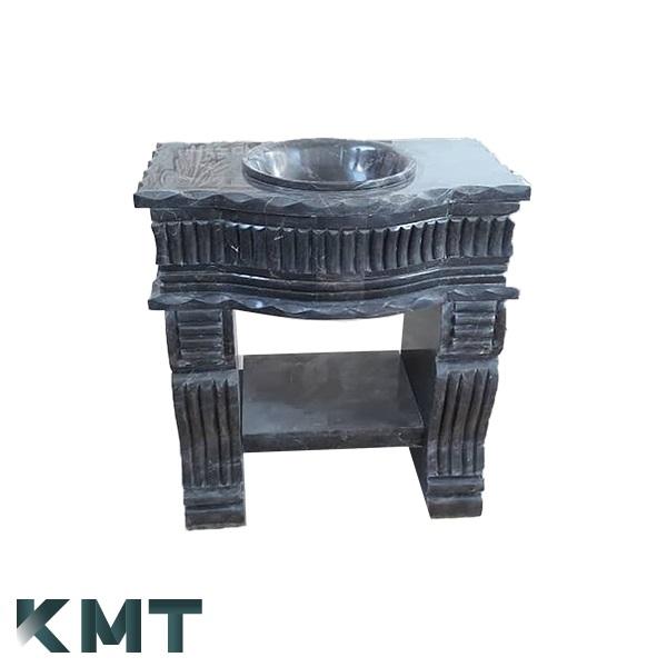 Black Pedestal Sink  Stone Basin S-15007