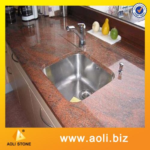 Multicolor Red granite countertop molded sink countertop