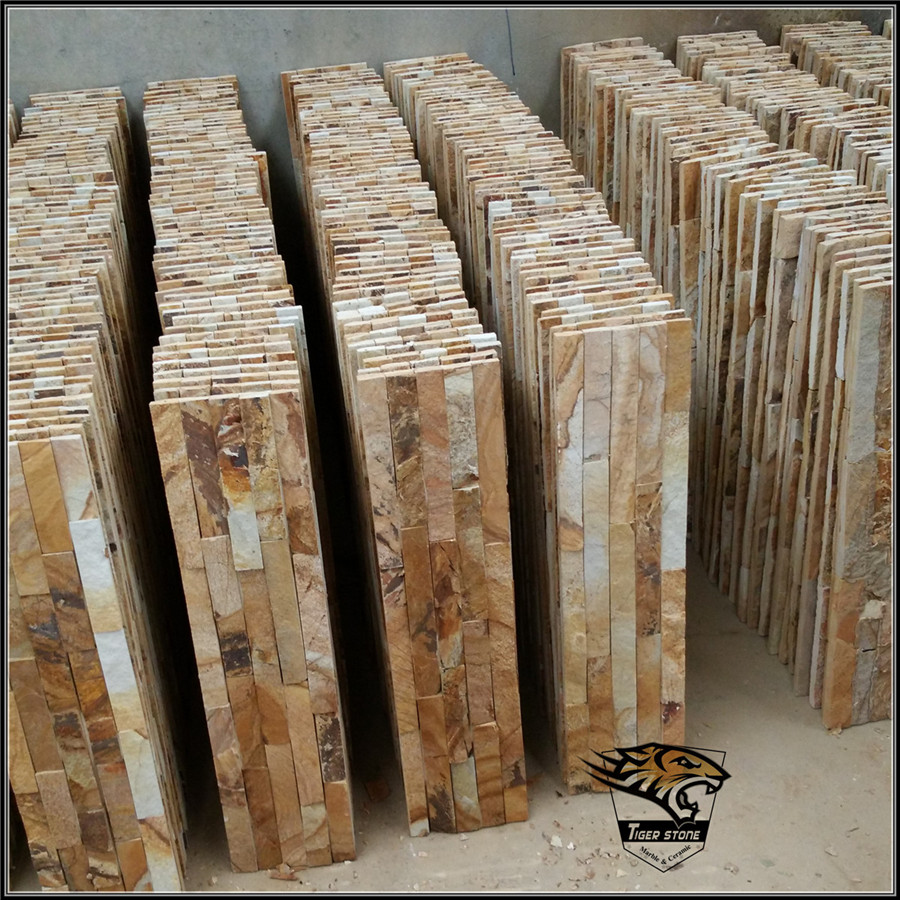 7S88 Walling Slate Tiles Golden Wooden Grain Provided by TIGER STONE