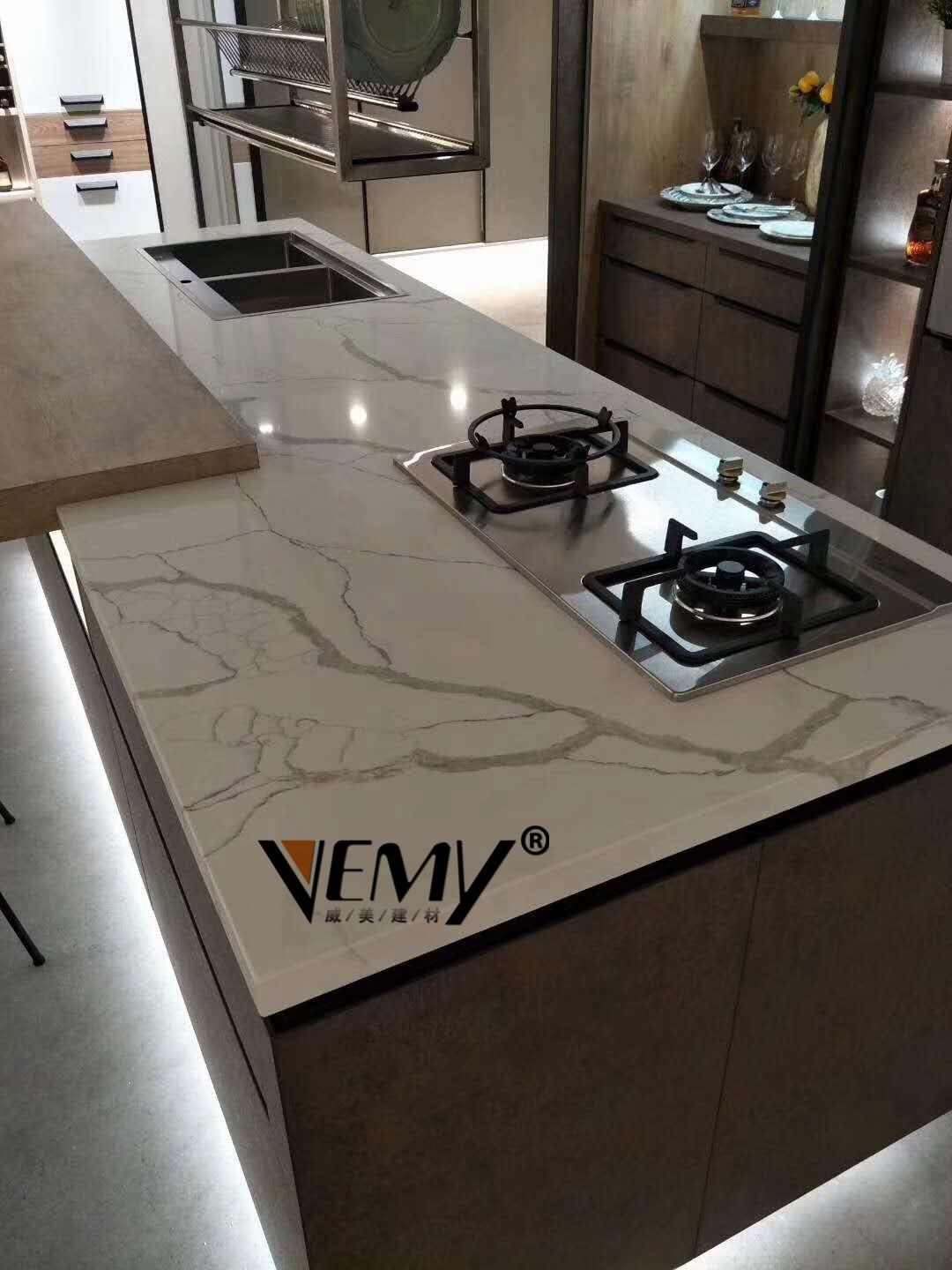Calacatta White Quartz Slabs Countertops