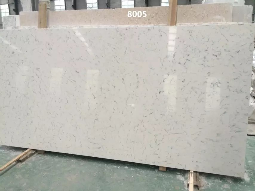Carrara color artificial quartz slabs for kitchen countertops