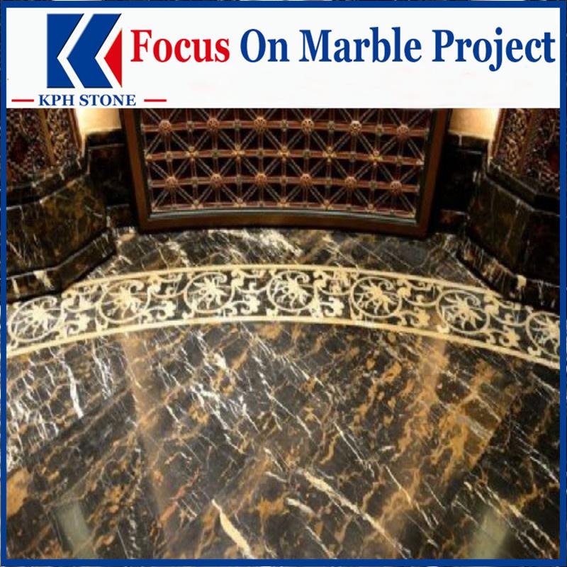 Portoro Black Gold Marble Slabs for JW Marriott Hotel Macau Hotels