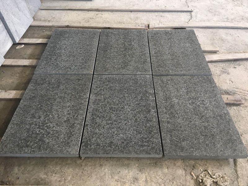 New Black Pearl granite paving tiles Black granite floor tiles