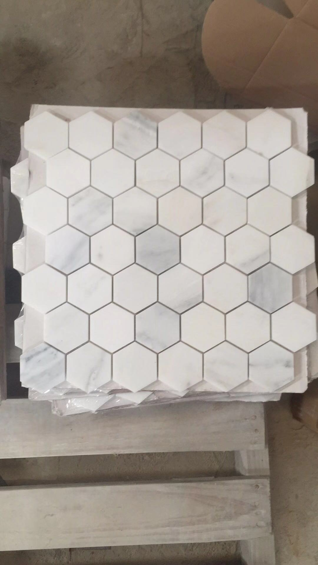 Chinese Polished White Marble Mosaic