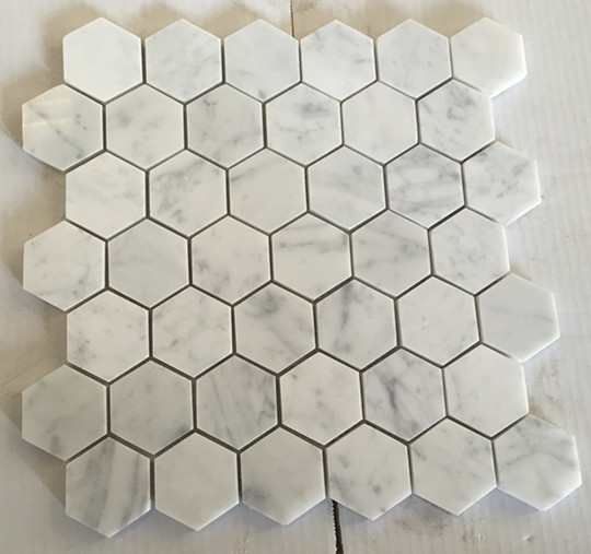 Hexagonal Cararra White Marble Mosaic Tiles