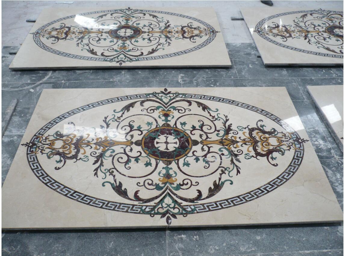 marble floor tile stone mosaic water jet medallion