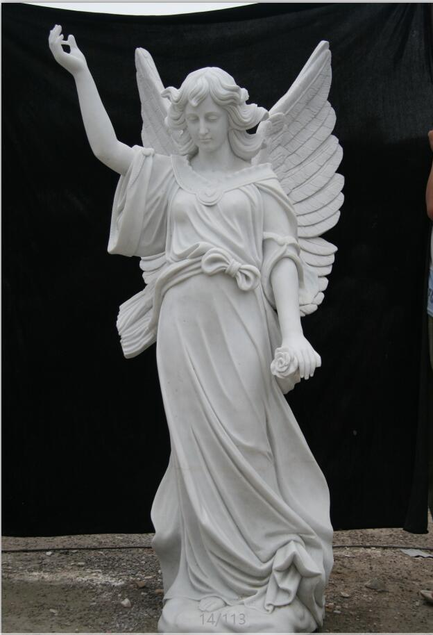 Carved marble angel statue tombstone sculpture