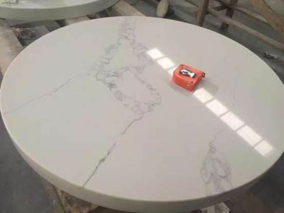 White Carara Quartz Table Tops