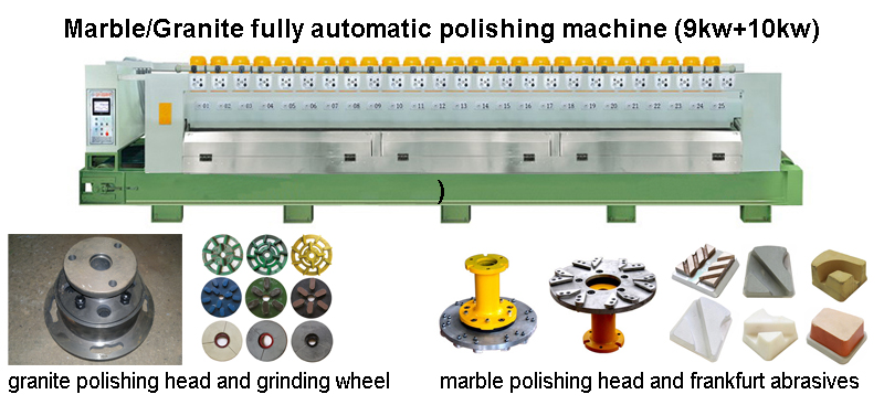 16 heads Automatic granite and marble polishing line machines 9kw