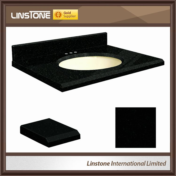 Absolute Black Granite Undermount Single Sink Bathroom Vanity Top