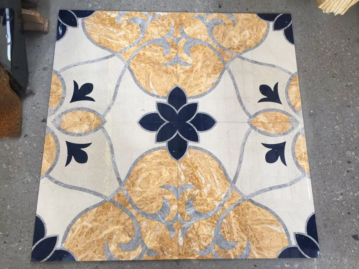 Amber Gold Marble Patchwork Tiles